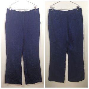 Ann Taylor dark blue linen pants, flared, career